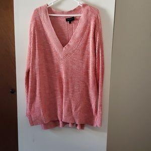 Heather pink deep vneck tunic sweater
